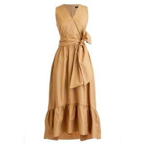 J.Crew Faux Wrap Cotton Camel Brown Midi Dress